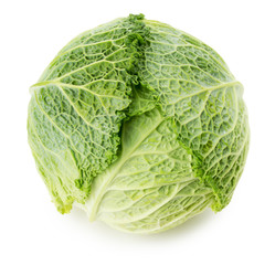 green cabbage isolated on the white background