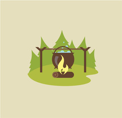 Camp fire illustration