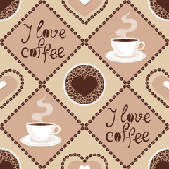 Seamless pattern with coffee and latte art