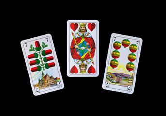 Spielkarten beim Watten -Die drei Trumpfkarten beim Watten