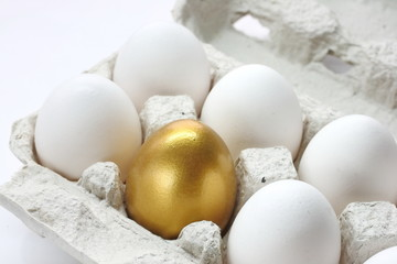 One golden egg among white eggs sets