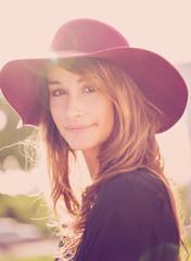 Portrait of Beautiful Girl in Hat