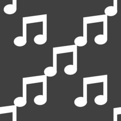 Music note web icon. flat design. Seamless pattern.