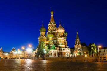 Night view of Saint Basil's Cathedral in Moscow. Russia