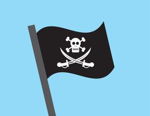 Pirate flag waving through the sky