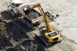Excavator digger & truck doing ground works - 68973789