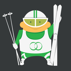 Skier with skiing equipment