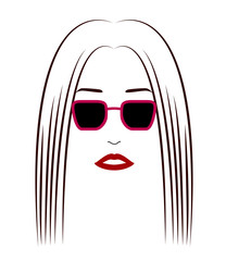 A face of a woman wearing sunglasses