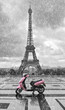 Eiffel tower in the rain with pink scooter of Paris. Black and w - 68974331
