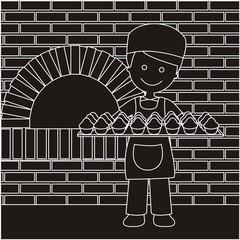 Panadero con bandeja de magdalenas líneas oscuro con fondo