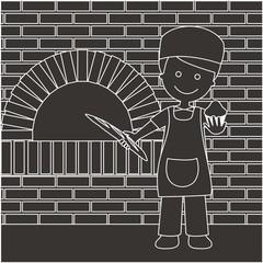 Panadero con barra de pan y magdalenas líneas oscuro con fondo