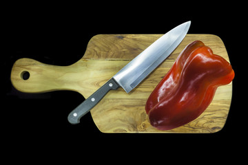 Chopping board with capsicums