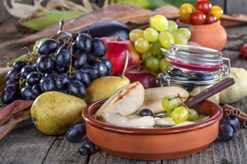 Fruit compote of pears with grapes