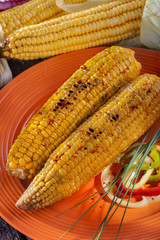 homemade barbecue baked sweet corn with spices