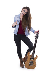 Beautiful rocker girl with electric guitar