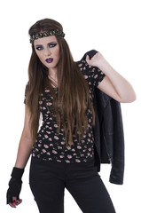 Beautiful hippie rocker girl