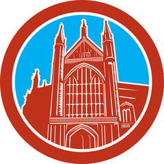 Winchester Cathedral Woodcut Retro