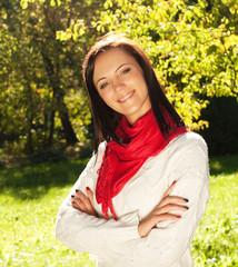Fashion woman in autumn park