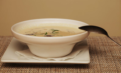 miso soup in white dish