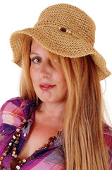 Portrait of woman with hat.