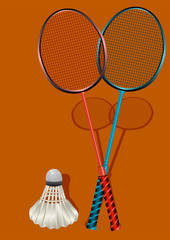 two badminton rackets and shuttlecock