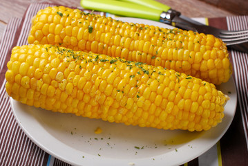 sweet corn with butter and herbs