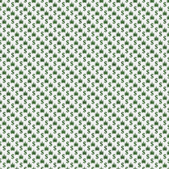Green and White Marijuana Leaf and Dollar Symbol Pattern Repeat