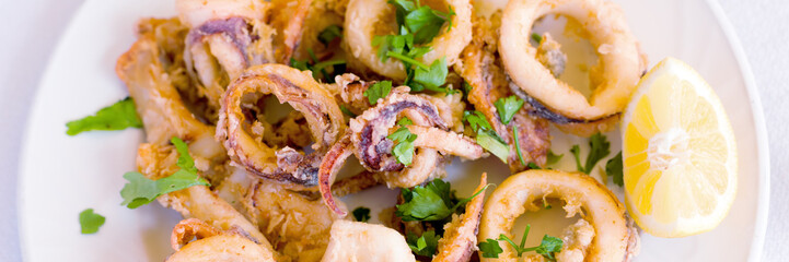 Fresh fried calamary rings