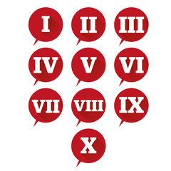 Numbers set. Vector flat design roman numeral