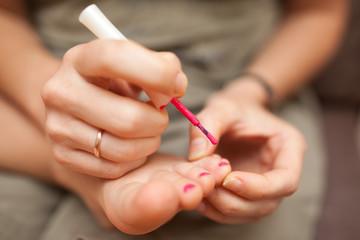 Child pedicure and nail polish