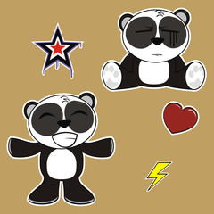 panda bear cartoon sticker set