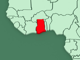 Map of worlds. Ghana.