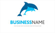 logo delfini, parco acquatico, mare, oceano
