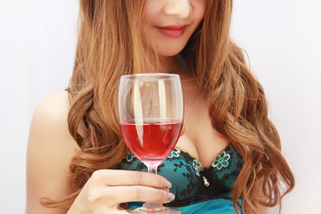 beautiful sexsy  woman with glass red wine