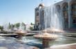 Leinwanddruck Bild - Fountain on Ala-Too Square