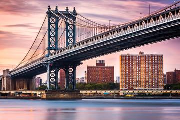 Manhattan Bridge under a purple sunset