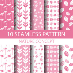 sweet pink and white nature pattern set