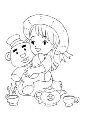 Outline illustration of a girl playing with her toys