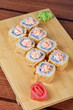 cream cheese and tobico sushi roll