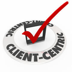 Client Centric Words Check Mark Ring Top Priority