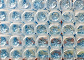 Stack of bottom Of plastic bottles