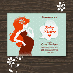 Vintage baby shower invitation with beautiful pregnant woman