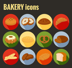 Set of colored vector bakery icons