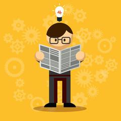 Vector Businessman Reading Newspaper
