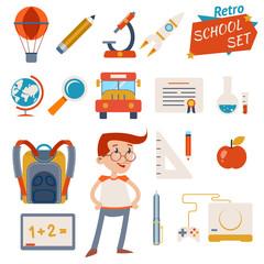 School Icon Set Graphic Designs on White