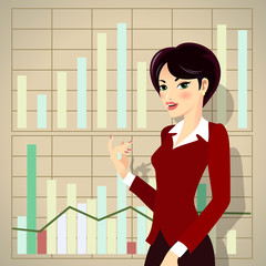 Business Woman Cartoon Presenting Proposal