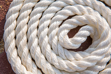 Big marine sea ropes in heap
