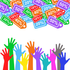 Sale labels and colorful hands - sale 10 - 50 percent text