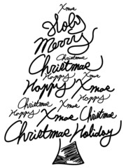 doodle Christmas tree word clouds