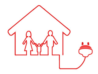 electrical plug symbol with family house
